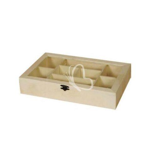 Tároló doboz, üveg tetővel, 8 rekeszes 30x19x5,5 cm