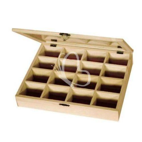 Gyöngyös doboz átlátszó tetővel 16 rekeszes 27x21x5 cm