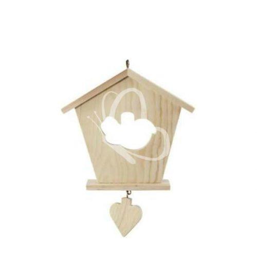 Falidísz házikó alakú, szív  függelékkel
