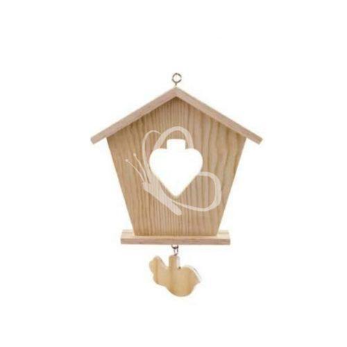 Falidísz házikó alakú szív kivágással madár függelékkel 16x20 cm