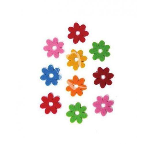 Filcfigurák, 7 szirmú kicsi virág 10db/csomag