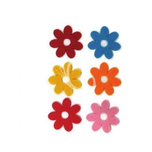 Filcfigurák, 7 szirmú virág 6db/csomag