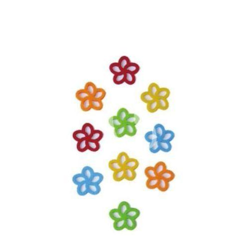 Filcfigurák, 5 szirmú virág 10db/csomag