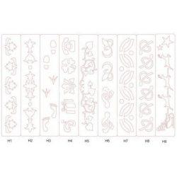Bordür, műanyag sablon, 40 x 7,5 cm-es, több mintával