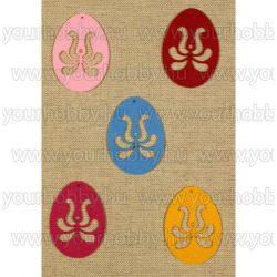Filcfigurák, kalocsai mintás tojás 5db/csomag
