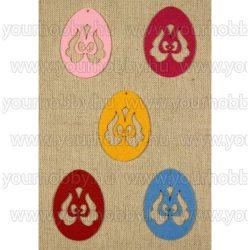 Filcfigurák, virág mintás tojás 5db/csomag