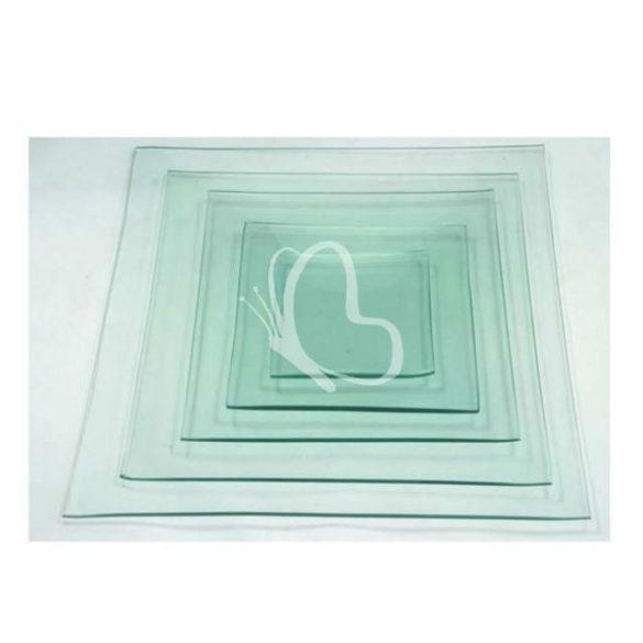 Üvegtál négyszögletes 5 méretben - 10x10 cm