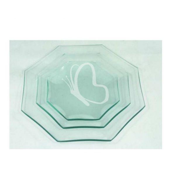 Üvegtál nyolcszögletű