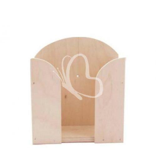 Fa papírzsebkendő tartó feles 14,5x6x6 cm