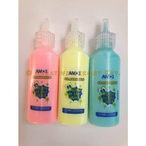 Amos Üvegmatrica festék Sötétben világító 22 ml - Sárga