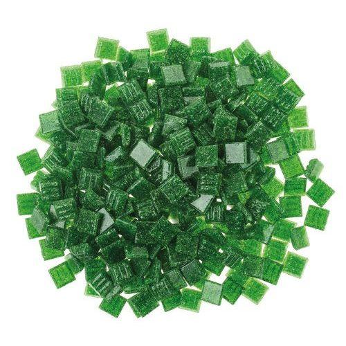 Üvegmozaik lapok 200 g 10x10 mm 300 db fenyőzöld