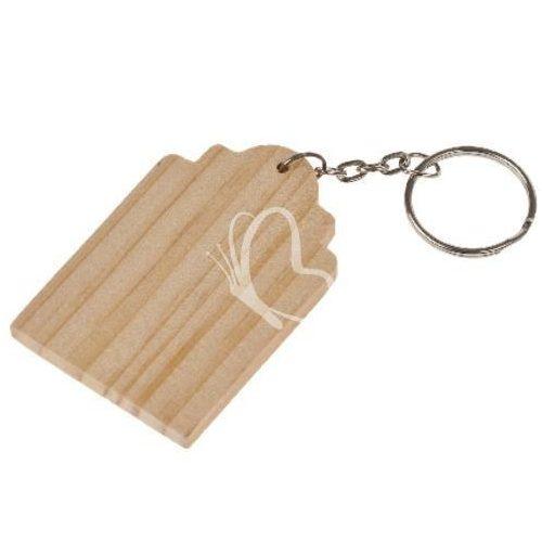 Kulcstartó fa, láncal 42x63 mm