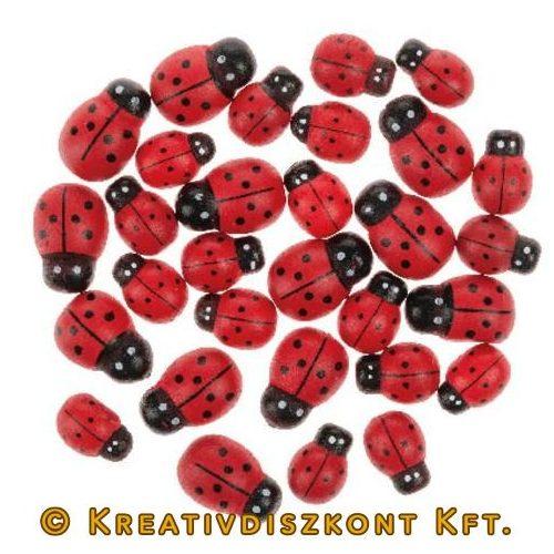Fa katicák 30 db piros/fekete 2 méret