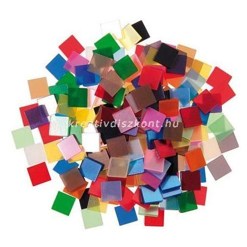 Mozaiklapok, acryl 10x10 mm, vegyes színek / 190 db