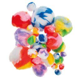 Pompon kb.10-50 mm 30 db tarka színek
