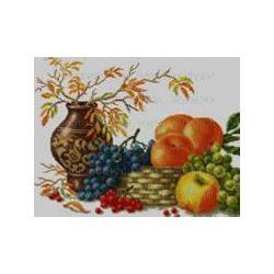 Keresztszemes készlet Gyümölcstál csendélet 40x50 cm