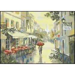 Keresztszemes készlet, Séta esőben hangulatos utcán 38x50 cm