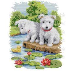 Keresztszemes készlet Fehér kiskutyák tavirózsákkal 31x37 cm