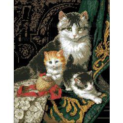 Keresztszemes készlet Macska kölykeivel 40x50 cm