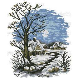 Keresztszemes készlet, Teliholdas téli éj 42x48 cm