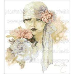 Keresztszemes készlet Hölgy rózsákkal 43x52 cm
