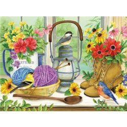 Festés számok után Kis madárkák  a csendéletben 40x50 cm