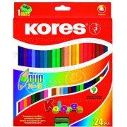 """Kores színesceruza, kétvégű, háromszögletű, """"DUO"""" 24 db(48 szín)"""