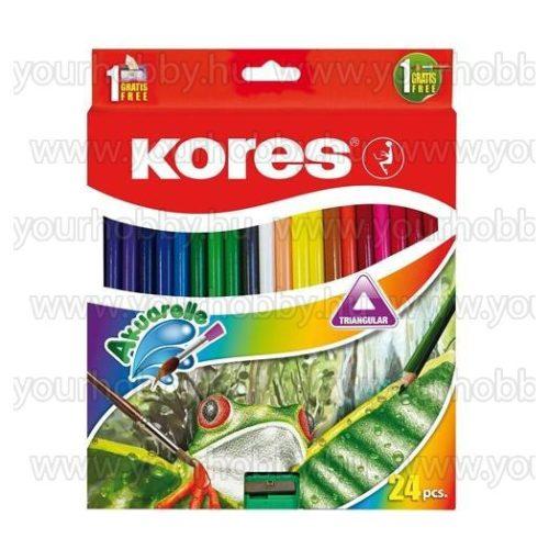 KORES Akvarell ceruza készlet hegyezővel ecsettel 24 szín