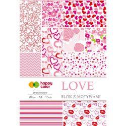 Happy Color Mintás papírkészlet 80g A4 15 lap 30 minta - Szerelem