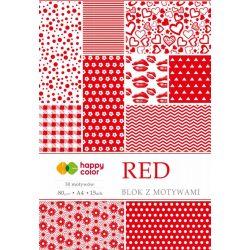 Happy Color Mintás papírkészlet 80g A4 15 lap 30 minta - Piros