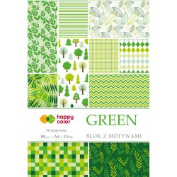 Happy Color Mintás papírkészlet 80g A4 15 lap 30 minta - Zöld