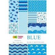 Happy Color Mintás papírkészlet 80g A4 15 lap 30 minta - Kék