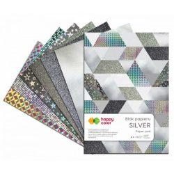 Happy Color Díszpapír készlet 150-230g A4 10 lap Ezüst