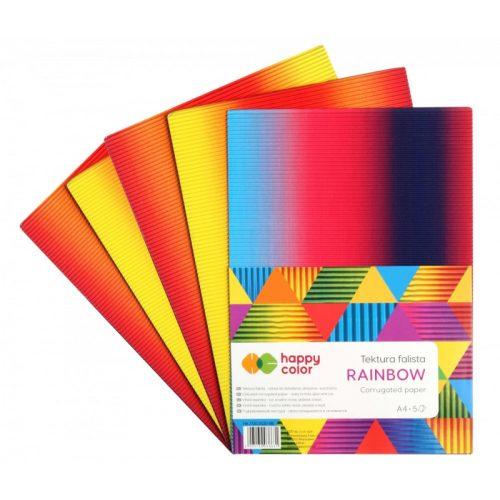 Happy Color Hullámkarton készlet A4 5 ív - Szivárvány