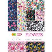 Happy Color Mintás papírkészlet 80g A4 15 lap 25 minta - Virágok