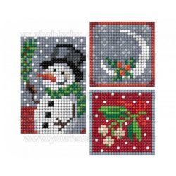 Collection D'Art Gyémántszemes kirakó matrica készlet hóember, magyal, fagyöngy