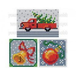 Collection D'Art Gyémántszemes kirakó matrica készlet karácsonyfa autón, csengő, gömb