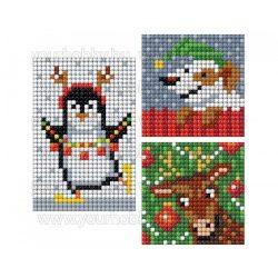 Collection D'Art Gyémántszemes kirakó matrica készlet pingvin, kutyus, rénszarvas