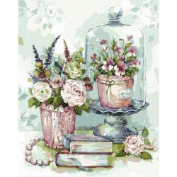 Festés számok után Könyvek virágok csendélet 40x50 cm