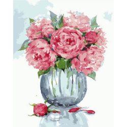 Festés számok után Pünkösdirózsa üveg vázában 40x50 cm
