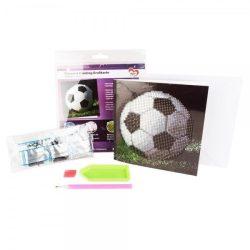 Gyémántszemes kirakó részleges, képeslap borítékkal Futball labda 16x16 cm