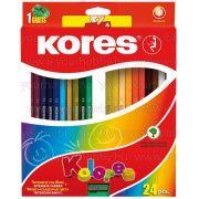 Kores színesceruza, hatszögletű 24 db+hegyező