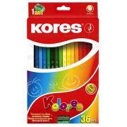 Kores színesceruza, hatszögletű 36 db+hegyező