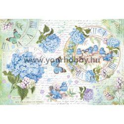 Stamperia Dekupázs  rizspapír 48x33 cm - Hortenzia és madarak