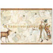 Stamperia Dekupázs rizspapír 48x33 Mikulás kártyák DFS361