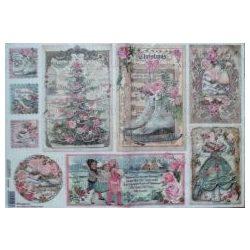 Dekupázs rizspapír 48x33 édes karácsonyi kártyák DFS382