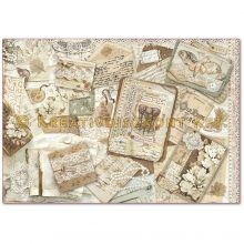 Dekupázs rizspapír 48x33 régi kártyák és csipkék DFS391
