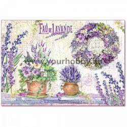 Stamperia Dekupázs  rizspapír 48x33 cm - Lila virágkompozíciók