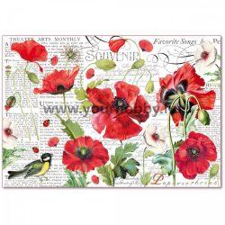 Stamperia Dekupázs  rizspapír 48x33 cm - Kerti pipacsok
