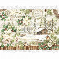 Dekupázs rizspapír, Fehér karácsony DFS413